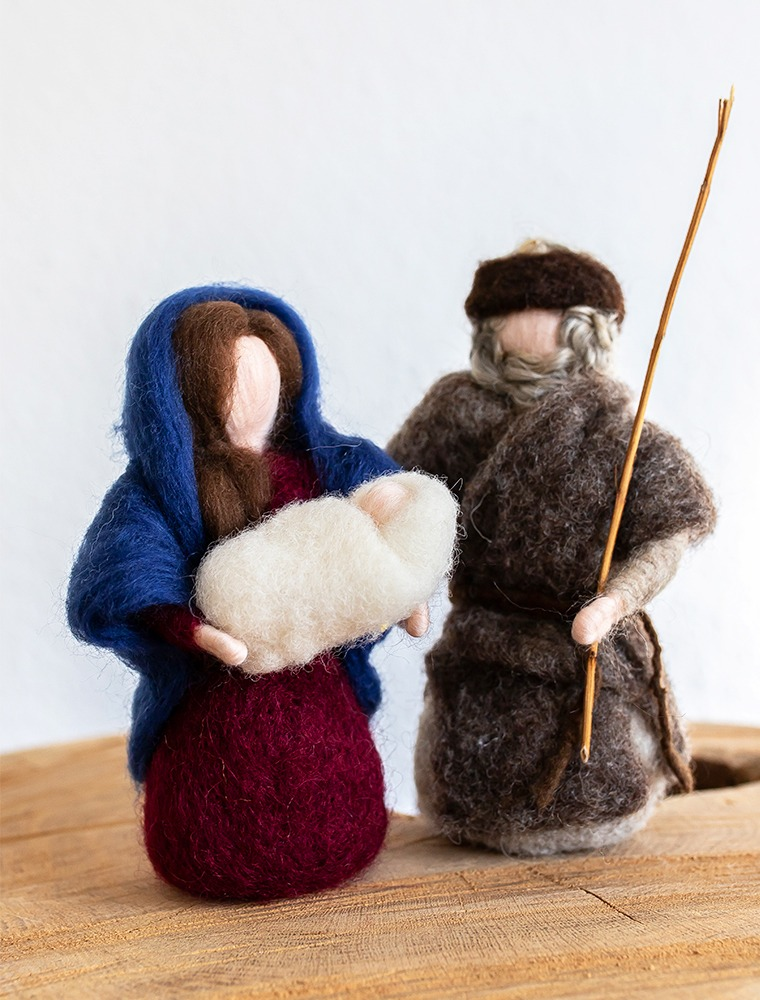 Filzfigur_Weihnachtskrippe_Maria_Josef_Christuskind