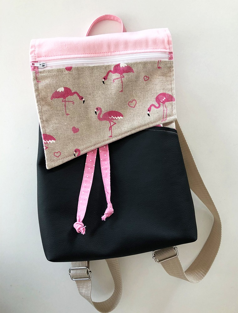 Rucksack_Nähkurs_DIY_rosa_Flamingo